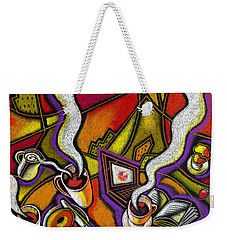 Weekender Tote Bag featuring the painting Morning Coffee And Internet by Leon Zernitsky