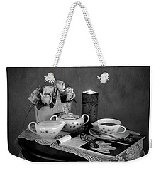 Morning Coffee And Reading Magazine Time Weekender Tote Bag by Sherry Hallemeier