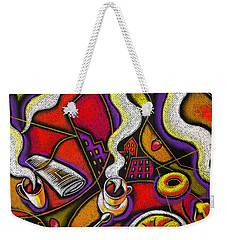 Weekender Tote Bag featuring the painting Morning Coffee Cup And Muffin  by Leon Zernitsky