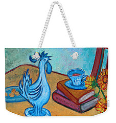 Weekender Tote Bag featuring the painting Morning Coffee Rooster by Xueling Zou