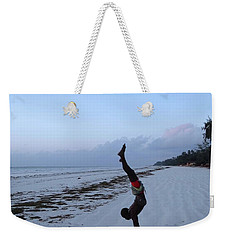 Morning Exercise On The Beach Weekender Tote Bag