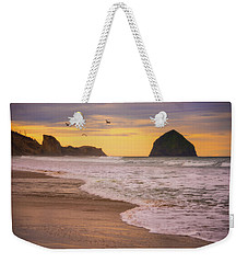 Weekender Tote Bag featuring the photograph Morning Flight Over Cape Kiwanda by Darren White