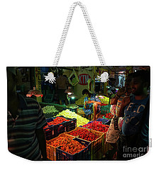 Weekender Tote Bag featuring the photograph Morning Flower Market Colors by Mike Reid