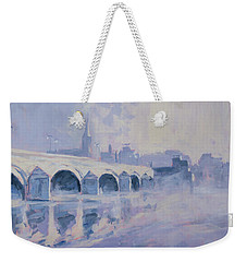 Morning Fog Around The Old Bridge Weekender Tote Bag