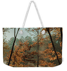 Weekender Tote Bag featuring the photograph Morning Fog At The River by Iris Greenwell