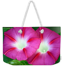 Weekender Tote Bag featuring the photograph Morning Glories by Sheila Brown