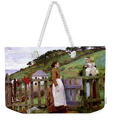 Weekender Tote Bag featuring the painting Morning Gossip by Henry Scott Tuke