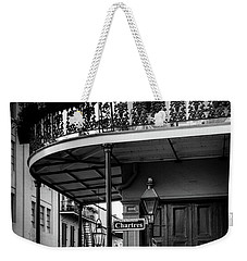 Morning Light In The French Quarter In Black And White Weekender Tote Bag