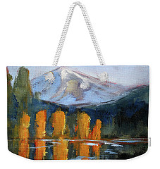 Weekender Tote Bag featuring the painting Morning Light Mountain Landscape Painting by Nancy Merkle