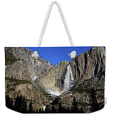 Morning Light On Upper Yosemite Falls In Winter Weekender Tote Bag