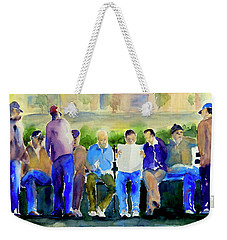Morning Meeting In Portsmouth Square Weekender Tote Bag by Tom Simmons