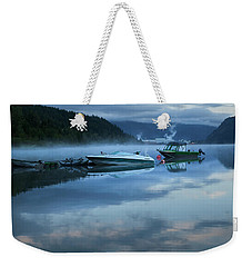 Morning Mist Adams Lake Weekender Tote Bag by Theresa Tahara