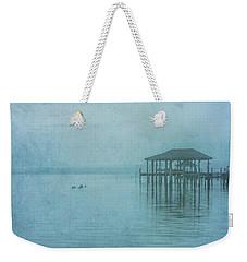 Weekender Tote Bag featuring the digital art Morning Mist In Blue by Randy Steele