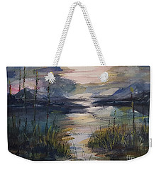 Weekender Tote Bag featuring the painting Morning Mountain Cove by Reed Novotny