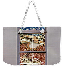 Weekender Tote Bag featuring the photograph Morning Reflection In Window by Gary Slawsky