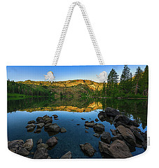 Weekender Tote Bag featuring the photograph Morning Reflection On Castle Lake by John Hight