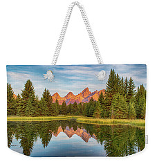 Weekender Tote Bag featuring the photograph Morning Reflections by Mary Hone