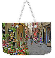 Weekender Tote Bag featuring the photograph Morning Shoppers by Lynda Lehmann