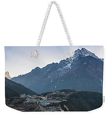 Weekender Tote Bag featuring the photograph Morning Sunrays Namche by Mike Reid