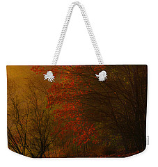 Morning Sunrise With Fog Touching The Tree Tops In Georgia. Weekender Tote Bag