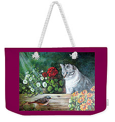 Weekender Tote Bag featuring the painting Morningsurprise by Patricia Schneider Mitchell