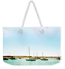 Moro Bay Inlet With Sailboats Mooring In Summer Weekender Tote Bag