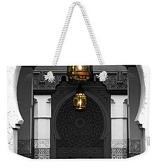 Weekender Tote Bag featuring the digital art Moroccan Style Doorway Lamps Courtyard And Fountain Color Splash Black And White by Shawn O'Brien