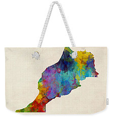 Weekender Tote Bag featuring the digital art Morocco Watercolor Map by Michael Tompsett