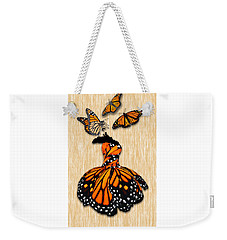 Weekender Tote Bag featuring the mixed media Morphing by Marvin Blaine