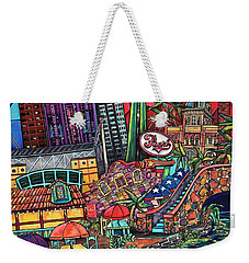 Weekender Tote Bag featuring the painting Mosaic River by Patti Schermerhorn