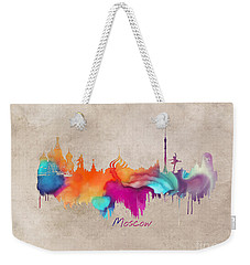 Moscow Russia Skyline City Art Weekender Tote Bag by Justyna JBJart