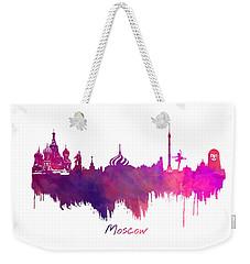 Moscow Skyline Purple Weekender Tote Bag by Justyna JBJart