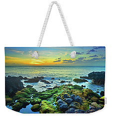 Weekender Tote Bag featuring the photograph Moss Covered Rocks At Sunset In Molokai by Tara Turner