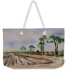 Weekender Tote Bag featuring the painting Moss Landing Pine Trees Farm California Landscape 2 by Xueling Zou