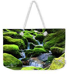 Weekender Tote Bag featuring the photograph Moss Rocks And River by Raymond Salani III