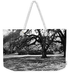 Moss Trees Black And White Weekender Tote Bag
