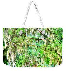 Weekender Tote Bag featuring the photograph Mossy Oak Pathway H D R by Lisa Wooten