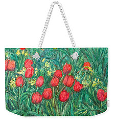 Weekender Tote Bag featuring the painting Mostly Tulips by Kendall Kessler