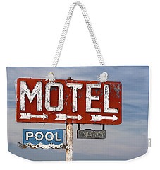 Weekender Tote Bag featuring the photograph Motel And Pool Sign Route 66 by Carol Leigh