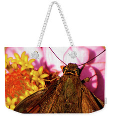 Moth On Pink And Yellow Flowers Weekender Tote Bag
