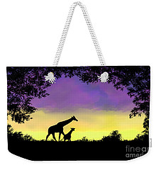 Mother And Baby Giraffe At Sunset Weekender Tote Bag