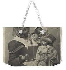 Weekender Tote Bag featuring the painting Mother And Child by Artistic Panda