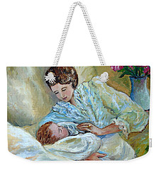 Mother And Child By May Villeneuve Weekender Tote Bag by Susan Lafleur for May Villeneuve