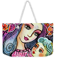 Weekender Tote Bag featuring the painting Mother And Child In Blue by Eva Campbell