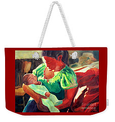 Weekender Tote Bag featuring the painting Mother And Child In Red2 by Kathy Braud