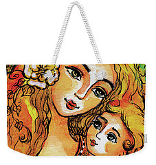 Weekender Tote Bag featuring the painting Mother And Child In Yellow by Eva Campbell
