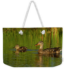 Weekender Tote Bag featuring the photograph Mother And Child Mallards by Jean Noren