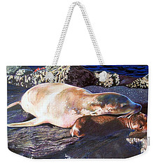 Mother And Child Sea Lion Weekender Tote Bag