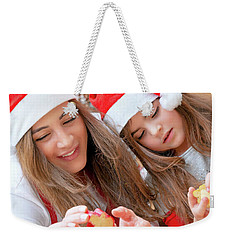 Mother And Daughter Doing Christmas Sweets Weekender Tote Bag