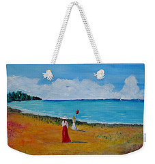 Weekender Tote Bag featuring the painting Mother And Daughter by Marilyn  McNish